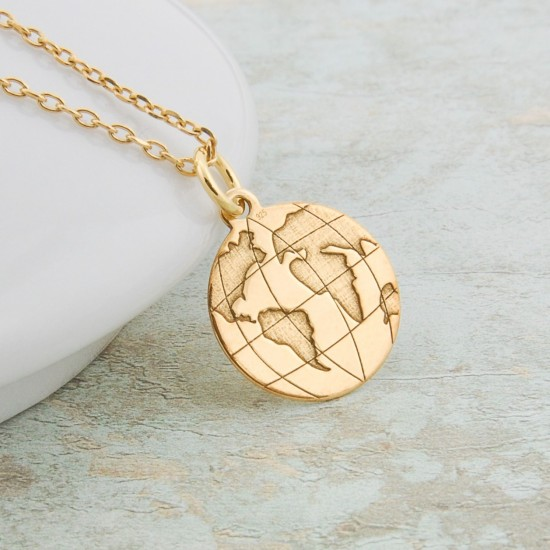 Globe Necklace Sterling Silver Gold Plated