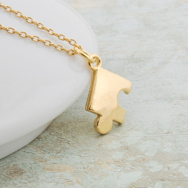 Gold Plated Puzzle Piece Necklace