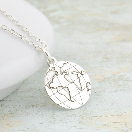 Silver World Necklace with Globe Pendant,