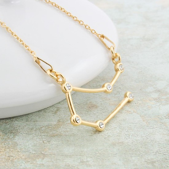 Gemini Zodiac Sign Swarovski Necklace Gold Plated