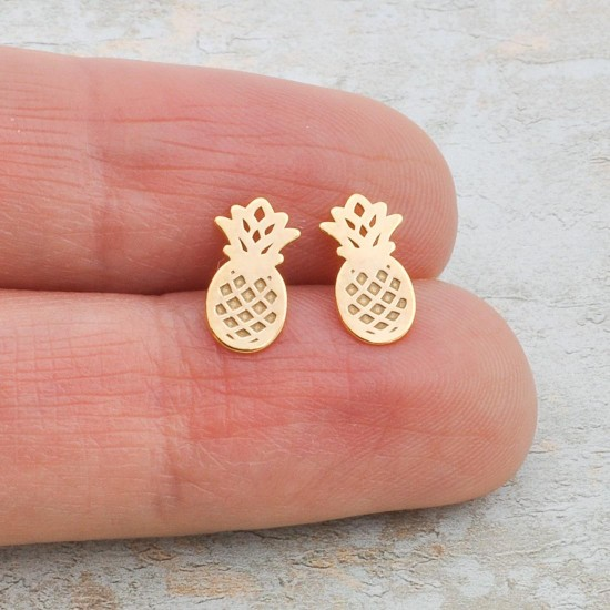 Gold Plated Pineapple Studs Earrings