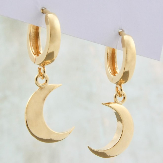 Gold Plated Crescent Moon Hoops Earrings