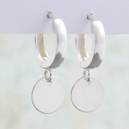 Small Silver Coin Charms Hoops Earrings