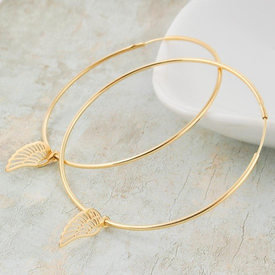 Large Gold Plated Hoop Earrings with wing 45mm