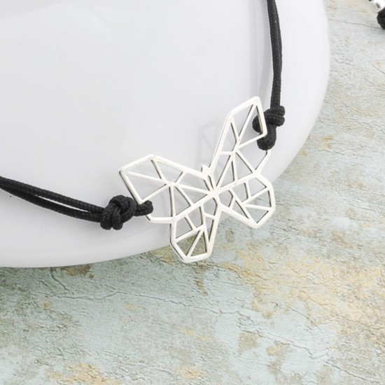 Wish Cord Bracelet With Silver Origami Butterfly Pendant