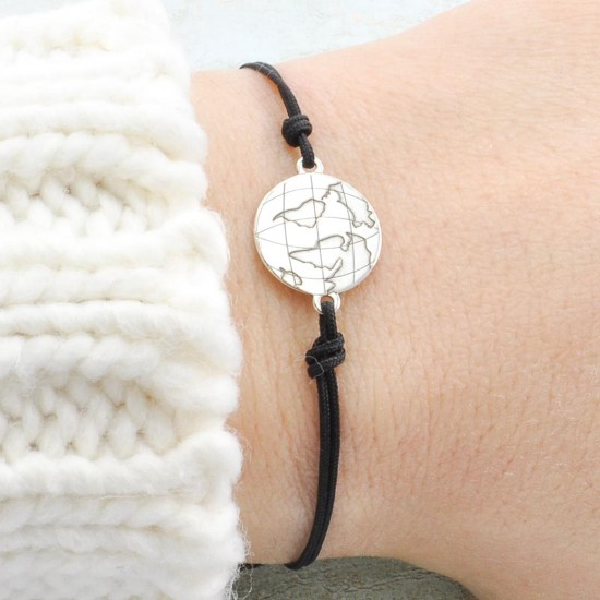 Mini Globe Bracelet, World Map Jewelry
