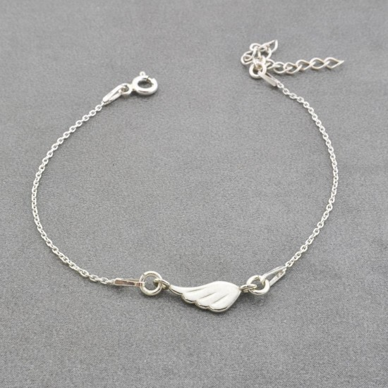 Angel Wing Bracelet With Thin Silver Chain