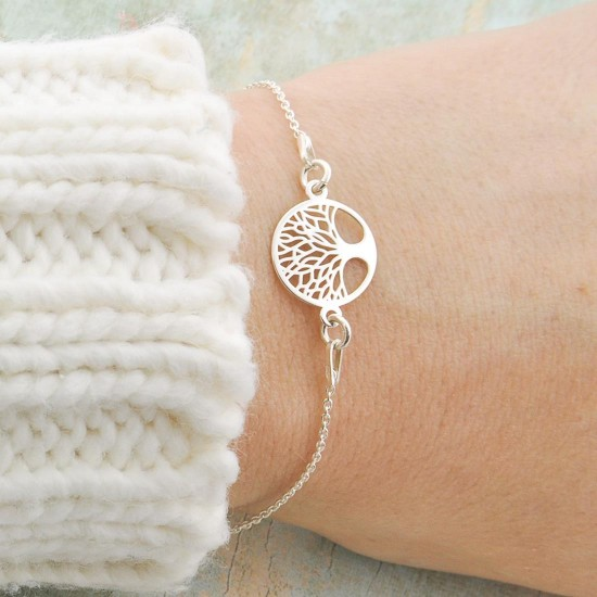 Solid Silver Chain With Tree Of Life Pendant