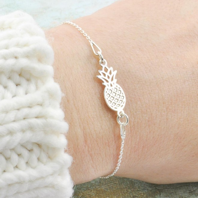 Pineapple With Silver Chain Bracelet