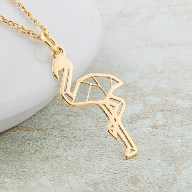 Gold Plated Flamingo Gifts Necklace Simple Layered