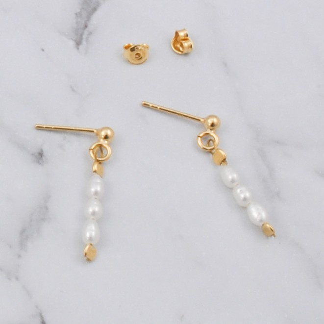 Natural Pearl Earrings Gold Plated