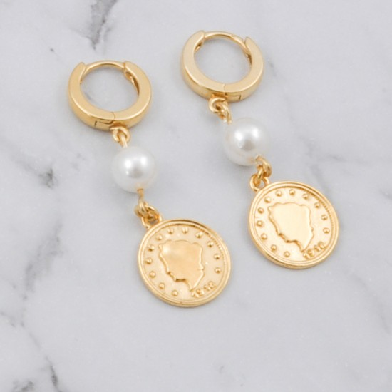 Majorca Pearl Hoops Earrings with Coin
